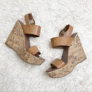 Mossimo cork tan brown wedges heels sandals 6.5